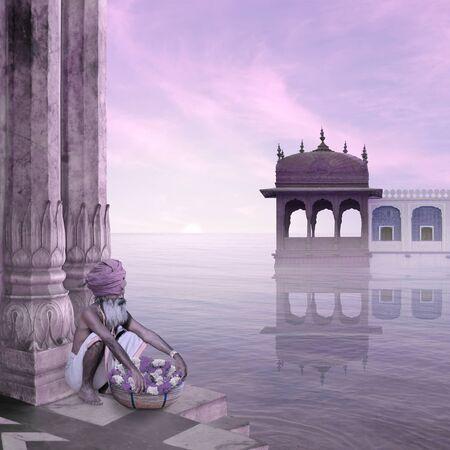 sadhu: Indian sadhu in the silence of the mist.