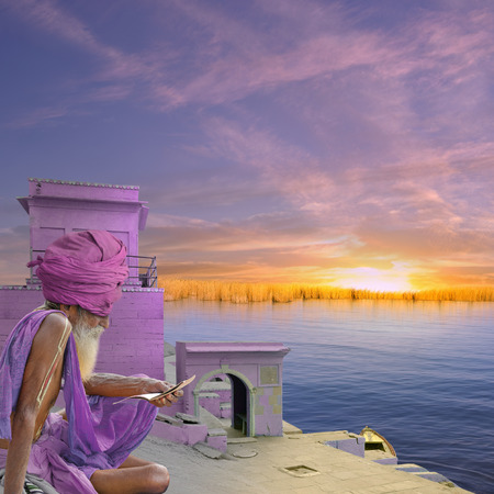 sadhu: Sadhu near indian port in the morning. Stock Photo