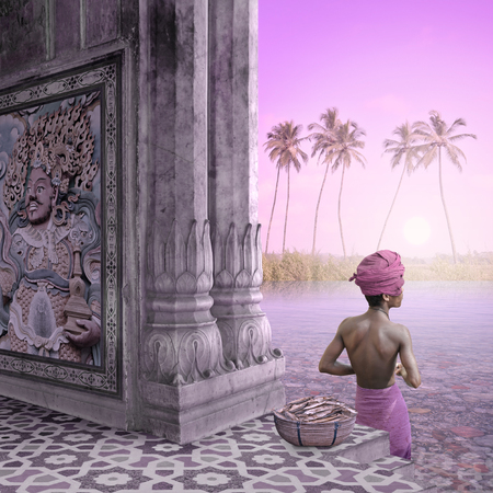 Indian fisherman in a temple working in the paradise.