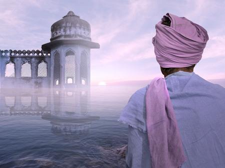poor man: hombre pobre indio cerca del templo viejo en la niebla. Foto de archivo