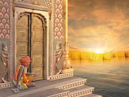 sadhu: Sadhu near a traditional indian door in the sunrise.