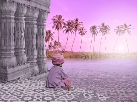 Indian man in a hindu temple in the paradise.