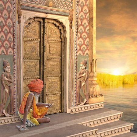 sadhu: Sadhu near a traditional indian door in the sunset. Stock Photo