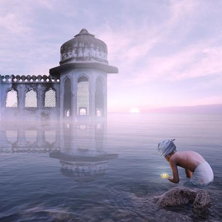 Indian man doing a hindu ritual on the sea. Stock Photo