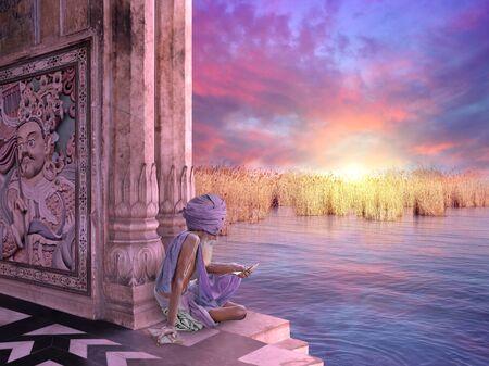 sadhu: Sadhu in a temple near Ganges river.