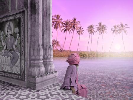 sadhu: Sadhu in a hindu temple in the paradise.