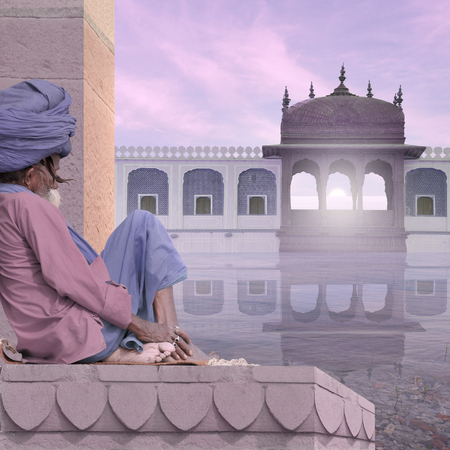 Senior meditating near indian palace in the mist.