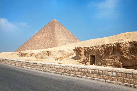 Pyramid of Gyza view with catacomb Stock Photo