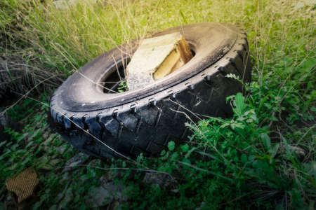 An old truck tire wrecked by the pass of time amid weeds Stock Photo