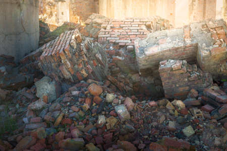 Rubble and brick remnants from an abandoned factory in southern Spain