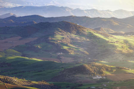 Province of Malaga mountains during a sunny spring afternoon Stock Photo