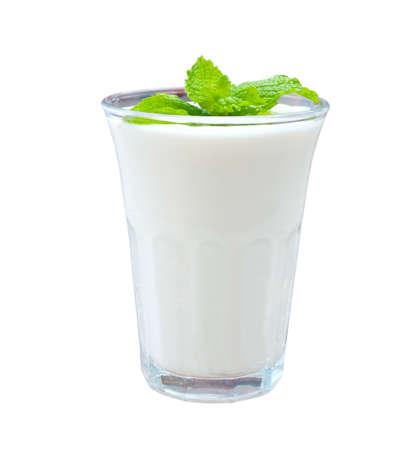 Glass of greek yogurt  isolated on white background
