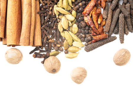 Different spices on white background. Overhead view
