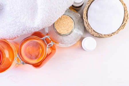 Bath cosmetic and Accessories on the wooden background