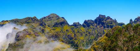 Mountain landscape. View of mountains on the route Encumeada - Boca De Corrida, Madeira Island, Portugal, Europe. Stock Photo