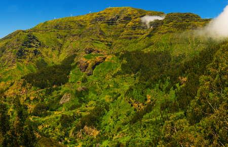 Mountain landscape. View of mountains on the route Encumeada - Boca De Corrida, Madeira Island, Portugal, Europe.