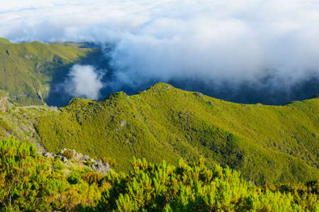 View of mountains on the route Pico Ruivo - Encumeada, Madeira Island, Portugal, Europe. Stock Photo