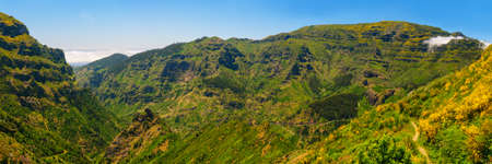 View of mountains on the route Encumeada - Boca De Corrida, Madeira Island, Portugal, Europe. Stock Photo