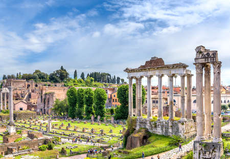 MAY, 13 2019. ROME, ITALY. Amazing landscape with Temple of Saturn - Tempio di Saturno - Roman forumes