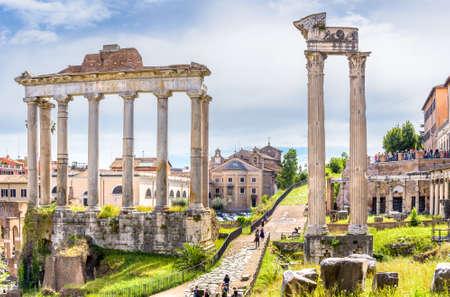 MAY, 13 2019. ROME, ITALY. Amazing landscape with Temple of Saturn - Tempio di Saturno - Roman forumes. Sajtókép