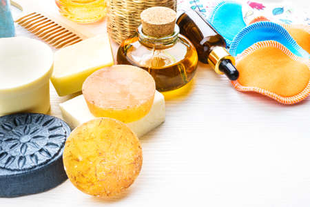 Body care products in recyling and reusing package. Zero waste and low impact concept