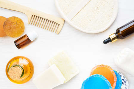 Body care products in recyling and reusing package. Zero waste and low impact concept Stock fotó