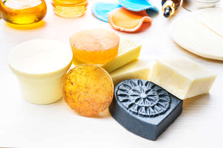 Body care products in recyling and reusing package. Zero waste concept Stock fotó