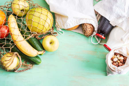 Organic food in reusable bags. Zero waste concept. Natural products free of synthetic gloss