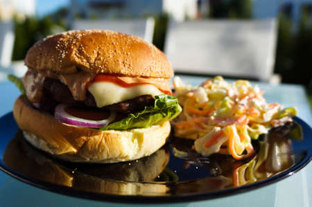 grilling: Grilled Hamburger Stock Photo