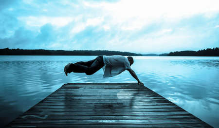 Levitating Sleepwalker over dock