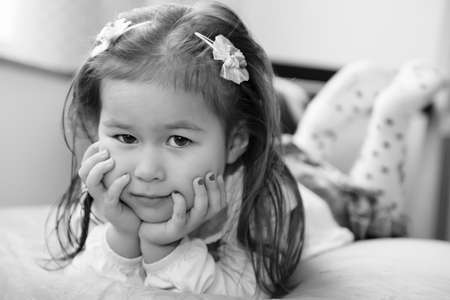 4 year old girl portrait in black and white