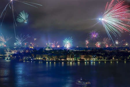 Fireworks over Stockholm in New year 2013