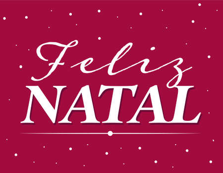 Merry Christmas in portuguese language whit snow flakes