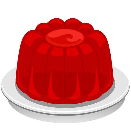 Red Jello Pudding  イラスト・ベクター素材