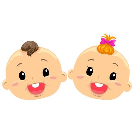 gemelos niÑo y niÑa: Ilustración del gemelo del bebé Caras