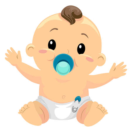 suckling: Illustration of Little Baby Boy Sucking a Pacifier