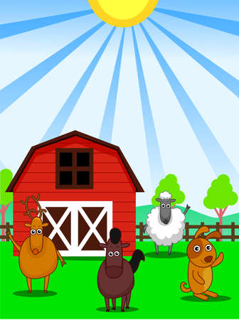 hay bale: Illustration of Farm Animals