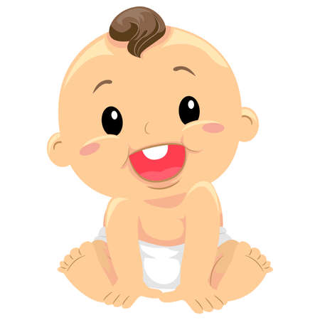 affable: Vector Illustration of a Baby Sitting