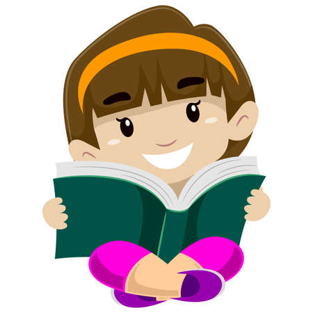person reading: Illustration of a kid reading a book