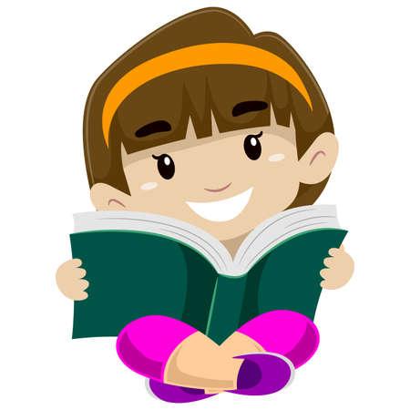 personas leyendo: Ilustración de un niño leyendo un libro