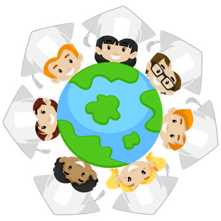 Vector Illustration of Kids Earth Diversity wearing Graduation Cap Illustration