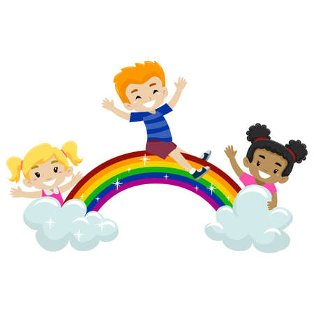 rainbow slide: Vector Illustration of Kids playing at the top of the rainbow