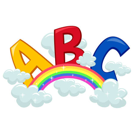 kiddie: Vector Illustration of ABC on Clouds and Rainbow