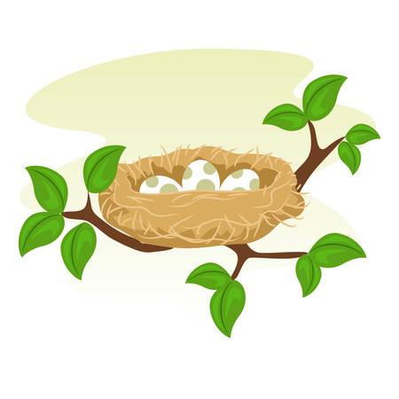 huevo caricatura: Imagen vectorial de un nido de pájaros y huevo