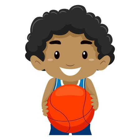 deportes caricatura: Ilustraci�n vectorial de un ni�o que sostiene una bola