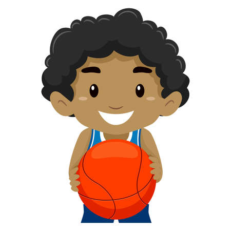 basketball cartoon: Vector Illustration of a Kid Holding a Ball