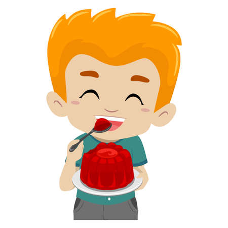 children eating: Vector Illustration of a Kid eating Jelly Illustration