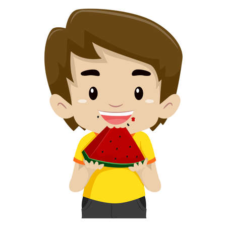 eating fruits: Vector Illustration of a Little Boy Eating a Watermelon