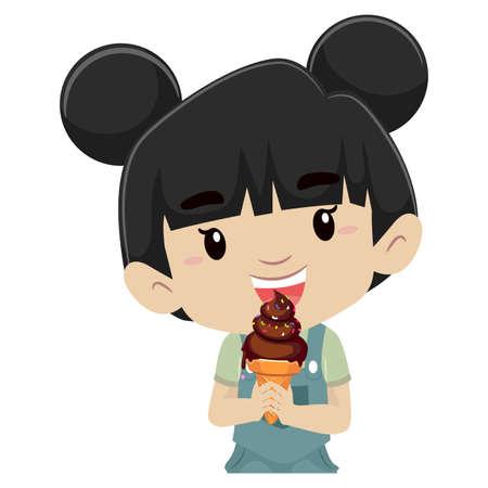 アイスクリームを食べる女の子のベクトル イラスト
