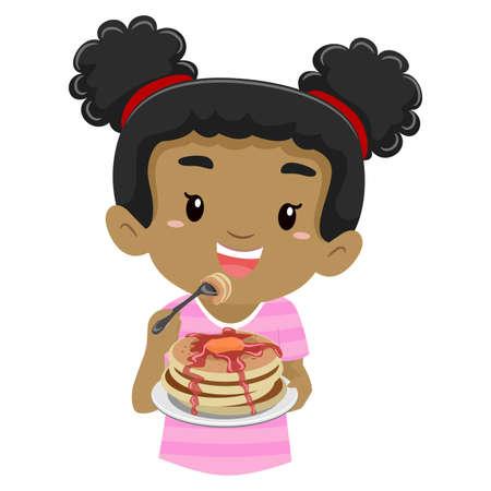 niños desayunando: Ilustración vectorial de una niña comiendo panqueques
